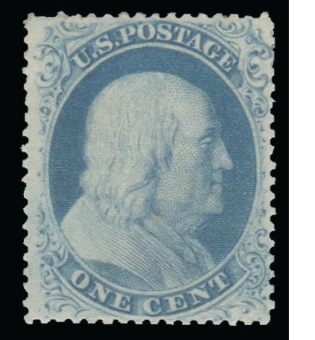 1c blue type IIIa (22) original gum, extremely well centered, vertical crease, otherwise very fine, with P.S.A.G. certificate (2011). $2,400.00