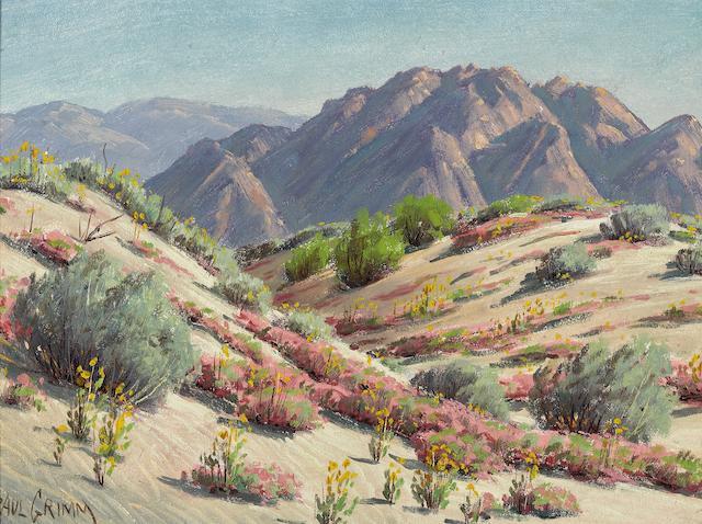 Paul A. Grimm (American, 1891-1974) Desert Verbena 11 3/4 x 15 3/4in