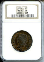 1814 Plain 4 1C MS63 Brown NGC