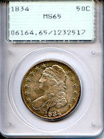 1834 50C Large Date Small Letters MS65 PCGS