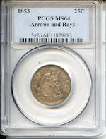 1853 Arrows & Rays 25C MS64 PCGS