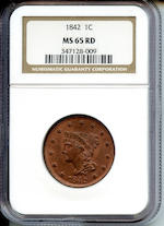 1842 Large Date 1C MS65 Red NGC