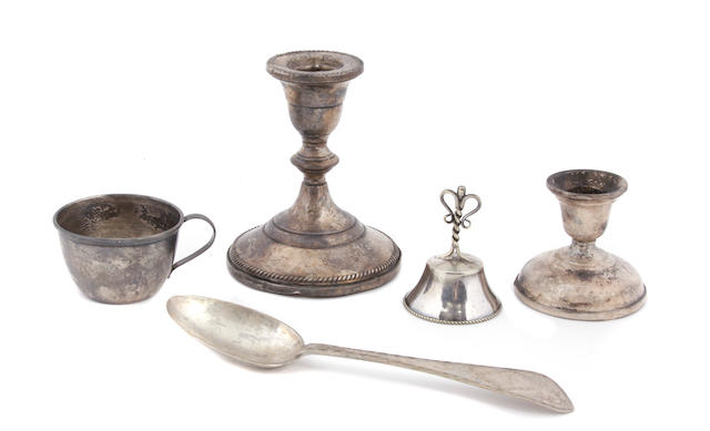 An assembled group of silver, silverplate and white metal table objects