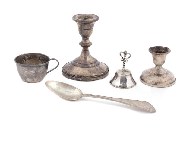 An assorted group of silver, silverplate and white metal table objects