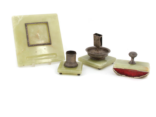 A Russian  88 standard silver and onyx four piece desk set Maker's mark in Cyrillic RB, St. Petersburg,  1908 - 1926
