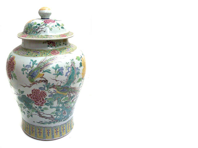 A large Chinese famille rose porcelain covered ginger jar and cover 19th century