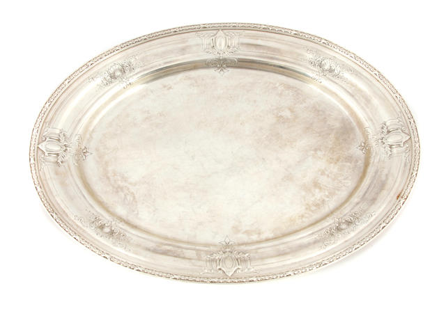 An American  sterling silver  oval meat platter Graff, Washbourne & Dunn, New York, NY,  first quarter 20th century
