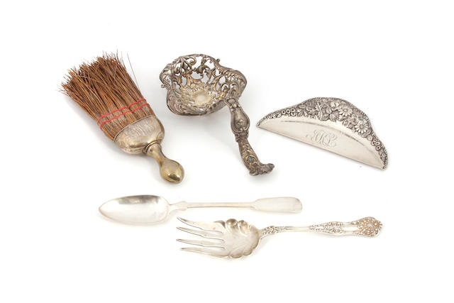 An assembled group of American, Continental and English silver flatware 19th - 20th century
