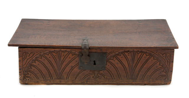 A Charles II boarded oak document box
