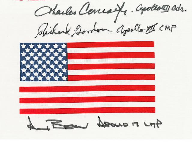 SIGNED BY APOLLO 12 CREW—U.S. BETA FLAG. U.S. Beta cloth flag,