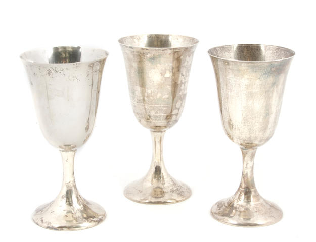 A set of eight American  sterling silver  goblets Fred M. Hirsch Co., Inc., Jersey City, NJ,  second quarter 20th century,