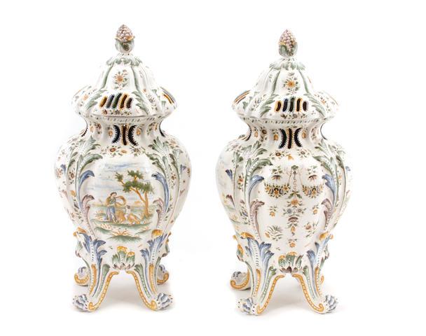 A pair of Italian maiolica style potporri urns