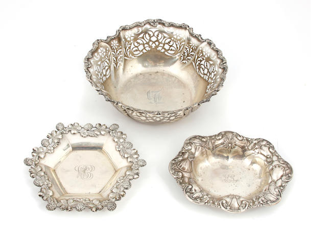 Three American sterling silver   bowls 20th century