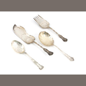 An assembled group American sterling silver  serving flatware late 19th - early 20th century
