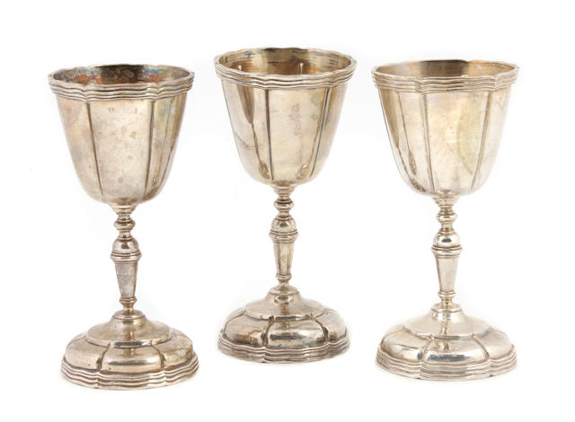 A set of twelve Mexican  sterling silver  goblets Sanborn Hnos S.A., Mexico City,  second quarter 20th century,