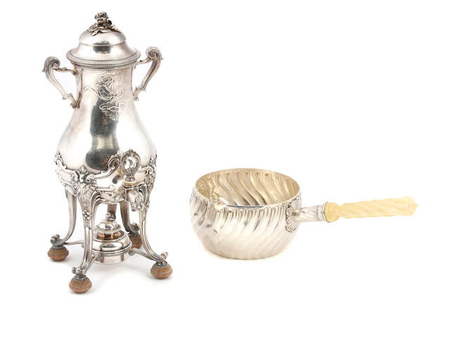 A French  silver  urn on stand and warming pan