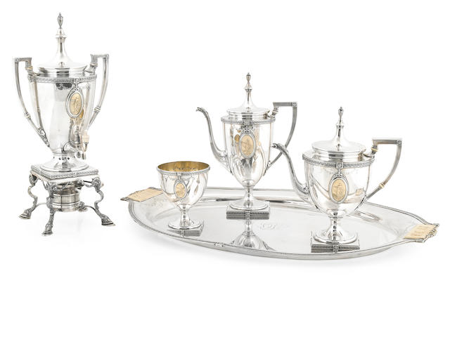 An American  parcel-gilt sterling silver  five piece part tea and coffee service Mt. Vernon Company Silversmiths, Inc., Mt. Vernon, NY,  circa 1915