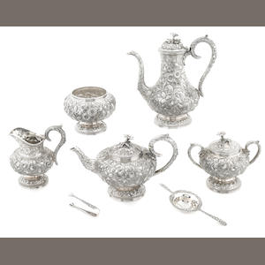 An American  sterling sivler  floral-chased five piece tea and coffee service S. Kirk & Son Co., Baltimore, MD,  circa 1903 - 1924