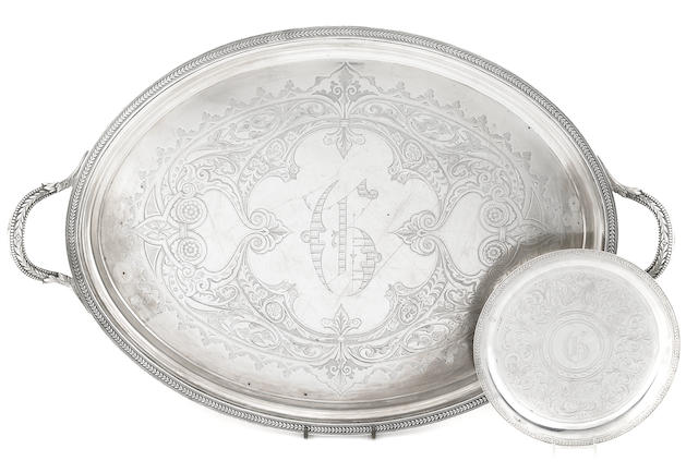 An American  coin silver  two-handled tray Ball, Black & Co., New York, NY,  1851 - 1874