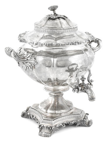 A William IV  sterling silver  hot water urn Edward Barton, London,  1832