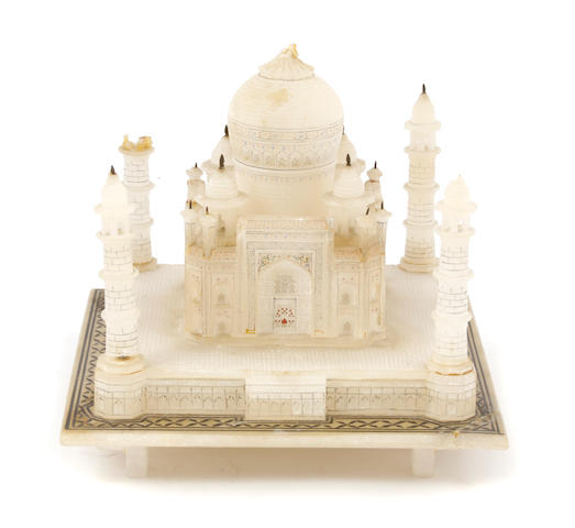 An Indian carved alabaster model of the Taj Mahal