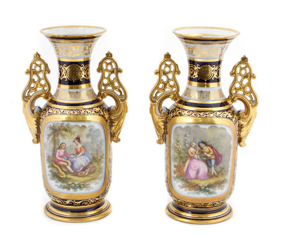 Two Paris porcelain vases
