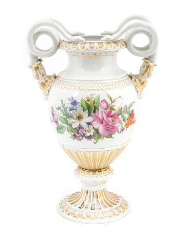A Meissen porcelain vase with serpent handles