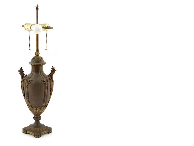 A French gilt and patinated bronze table lamp
