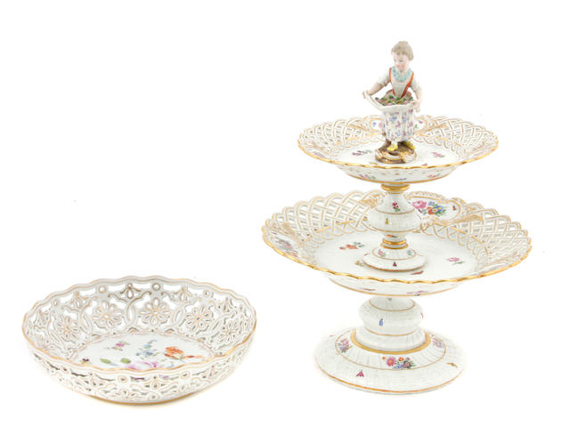 A Meissen porcelain two tier centerpiece
