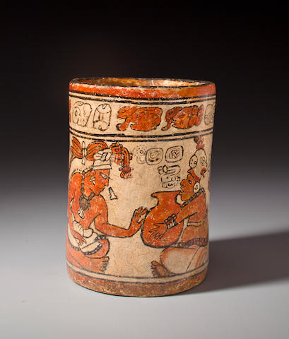 Maya Polychrome Cylinder Pot, Late Classic, ca. A.D. 550 - 950