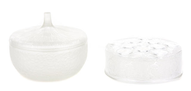A pair of Lalique covered powder bowls