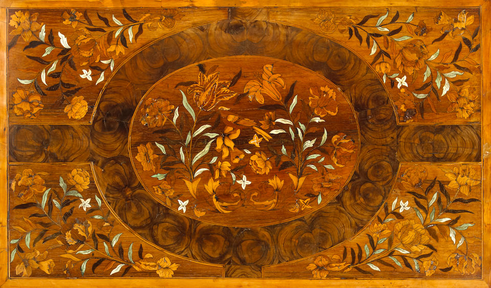 A good William and Mary marquetry inlaid walnut and oyster veneered chest  fourth quarter 17th century