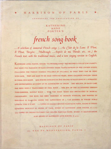 PORTER, KATHERINE ANNE. French Song-Book. Paris: Harrison, 1930.