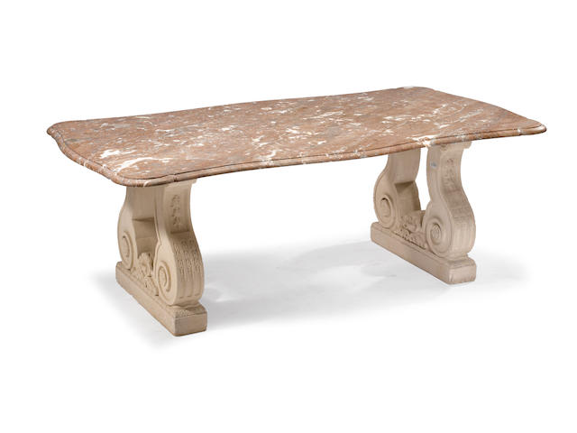 A Baroque style carved limestone marble top dining table 20th century