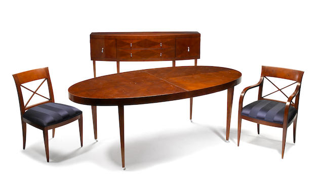An Art Deco style mahogany dining suite Baker Furniture Co. 20th century