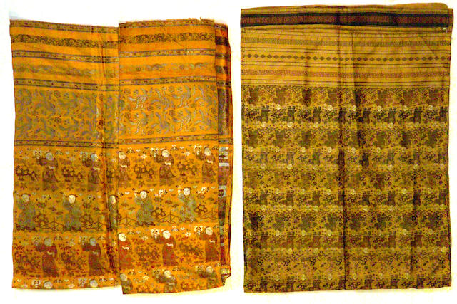 Two Chinese brocade panels