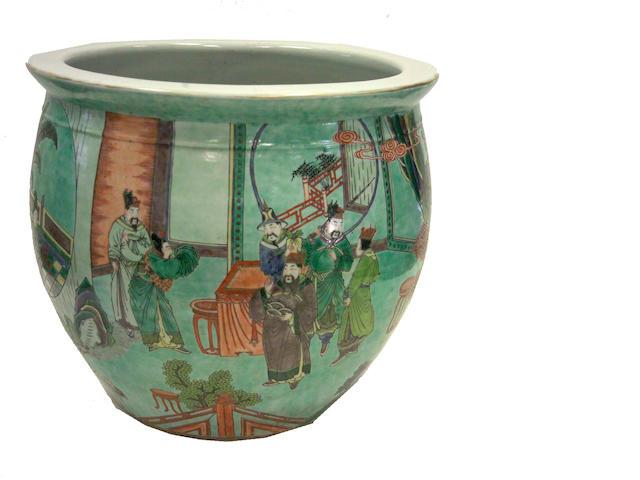 A Chinese famille verte porcelain jardinière