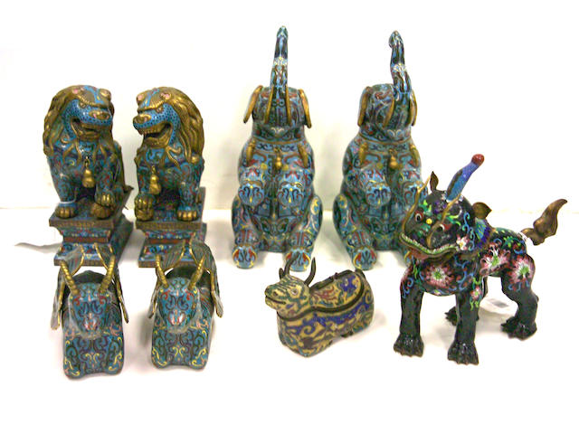 A group of Chinese cloisonné enameled metal decorations 20th century