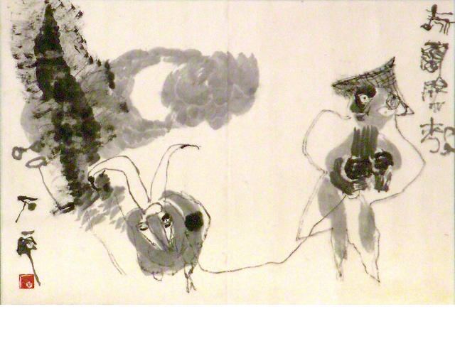 Unknown Artist (Chinese, 20th century)  Figure & Goat