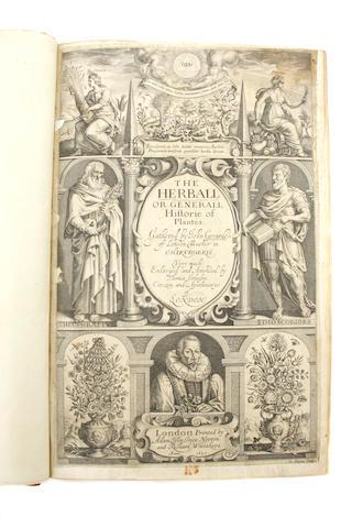 BOTANY. GERARD, JOHN. The Herball, or Generall Historie of Plantes. London: Adam Islip [et al], 1633.