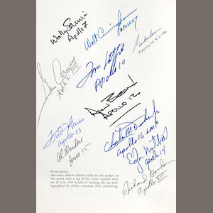 HISTORY OF MANNED LUNAR SPACECRAFT. SIGNED BY TWELVE APOLLO ASTRONAUTS..  BROOKS, C.G., J.M. GRIMWOOD and L.S. SWENSON. Chariots for Apollo: A History of Manned Lunar Spacecraft. NASA SP-4205. Washington: GPO. 1979.
