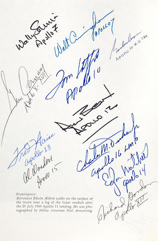 HISTORY OF MANNED LUNAR SPACECRAFT. SIGNED BY TWELVE APOLLO ASTRONAUTS.<BR /> BROOKS, C.G., J.M. GRIMWOOD and L.S. SWENSON. Chariots for Apollo: A History of Manned Lunar Spacecraft. NASA SP-4205. Washington: GPO. 1979.