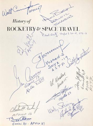 SIGNED BY 13 ASTRONAUTS AND ONE COSMONAUT. VON BRAUN, WERNHER and FREDERICK I. ORDWAY III. History of Rocketry and Space Travel. New York: Thomas Y. Crowell, 1966.
