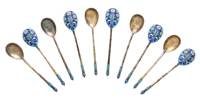 A set of ten silver-gilt and filigree enamel spoonsMoscow, 1898-1908, marked with IKh in Cyrillic