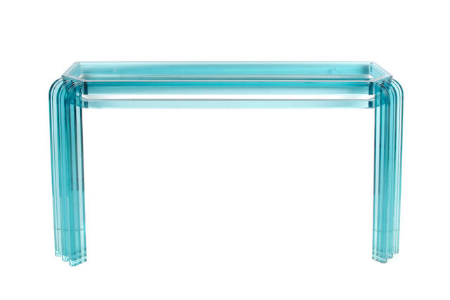 An Art Deco style blue acrylic console, with top