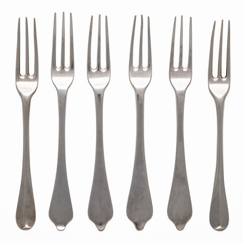 Six sterling silver three pronged dessert forks, 1697-1724