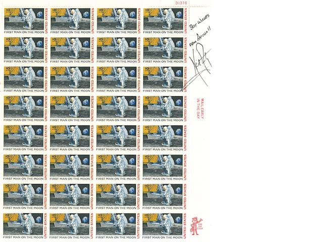 "MAN ON THE MOON SIGNED STAMP SHEET. Full sheet of 10-cent ""First Man on the Moon"" postage stamps."