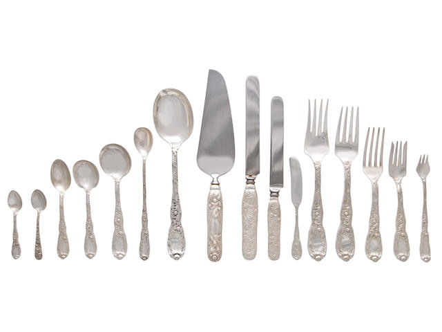 An American sterling silver flatware service for twelve<BR /> Manufactured and retailed by Tiffany & Co., New York, 1875-91