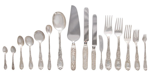 An American sterling silver flatware service for twelve  Manufactured and retailed by Tiffany & Co., New York, 1875-91