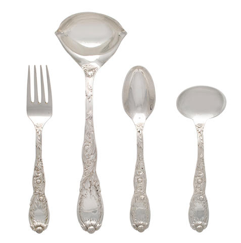 Additional American silver serving utensils Manufactured and retailed by Tiffany & Co., New York, circa 1900 and later Including: serving spoon, sauce ladle, small punch ladle and serving fork